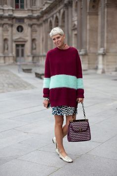 STREET STYLE SPRING 2013: PARIS FASHION WEEK - Elisa Nalin is laidback yet elegant in slippers and a cozy knit.