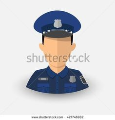 Police Officer. Avatar profession cop. Military service. Illustration. Vector. Eps10.
