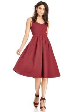 Wine colored Pleated A-Line Midi Dress