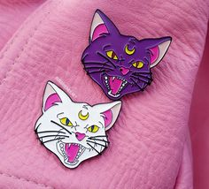 Pins featuring our favorite ferocious felines  ♥ Sold separately, and as a set!  ♥ 1 1/2 inches ♥ Made from high quality, black soft enamel! ♥ Backed with a silver clutch