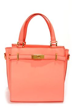 Bright and Early Neon Coral Purse at LuLus.com!