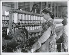 Adolescent girl spinner in a cotton mill, 1900-1937