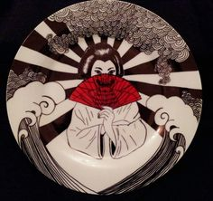 Hand Painted ceramic plate. 1 of 2 Samurai and geisha inspired designs