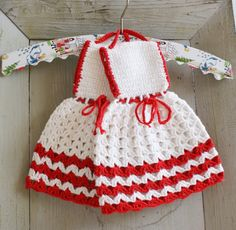 Crocheted - red and white - Dress Potholders