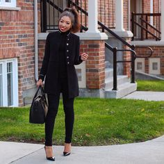 fall / winter outfit inspiration - street style - street chic style - casual outfits - zara coat + black skinny jeans - rag & bone jeans - celine mini luggage - louboutin so kate - amynicolaox