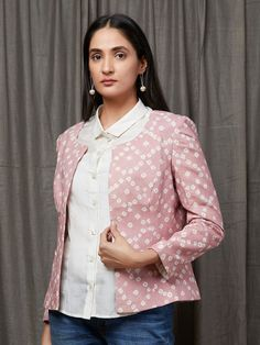 White Cotton Shirt with Old Rose Tie and Dyed Jacket - Set of 2 Cotton Jacket, Western Wear, Women's Fashion Dresses, White Cotton, Blouse Designs, Kurti, Bag Accessories, Saree, Tie