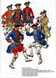 French; SYW Foreign Infantry. 1 Ogilvy's(Scottish) Regt, Fusilier. 2 Gardes Lorraine, Fusilier 1757-58. 3 Gardes Lorraine Drummer/Fifer 1757-60. 4 Bulkeley's(Irish) Regiment Fusilier. 5 Horion's(Walloon Regiment Fusilier. & 6 Planta's(Swiis) Regiment Fusilier.