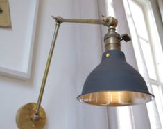 Industrial Articulating Brass Wall Lamp with shop shade - Mid century style - Raw Brass Task Boom Lamp - School House Shade Lamp, Brass Wall Lamp, Brass Lighting, Brass Lamp, Industrial Wall Lights, Industrial Wall, Lamp Wire, Metal Lamp Shade, Brass Wall Light
