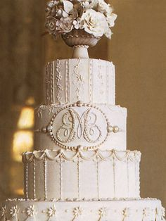 White Monogram Wedding Cake