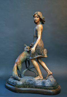 Pivotal Moment with Fox half-life size - Angela Mia De La Vega - Elegant Bronze Figurative Sculpture