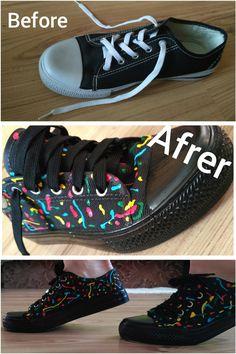 DIY, sneakers, art, colors. Before/after