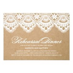 RUSTIC LACE | REHEARSAL DINNER INVITATION #wedding