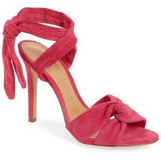 Schutz Monia Sandal (Women) (94 CAD) ❤ liked on Polyvore featuring shoes, sandals, rose pink, rose shoes, strappy sandals, wrap shoes, pink strappy sandals and suede sandals