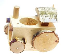 Nagerzubehör Traktor aus Holz TOP für Nagerfutter