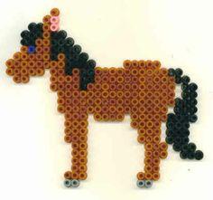 Horse hama perler beads - vlokje Perler Bead Designs, Diy Perler Beads, Perler Bead Art, Melty Bead Patterns, Hama Beads Patterns, Beading Patterns, Pearl Beads Pattern, Beading For Kids, Peler Beads