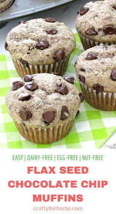 Flax Seed Chocolate Chips Muffins to eat flax seed recipes Dairy Free Eggs, Dairy Free Recipes, Gourmet Recipes, Meal Recipes, Recipies, Gluten Free, Healthy Chips, Healthy Muffins, Foods