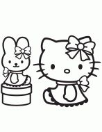 Pretty Hello Kitty Sitting Coloring Page