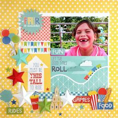 """""""Designer @taniawillis created this bright & happy layout with our """"A Fair to Remember"""" mini theme collection.  We especially love the 3-D stars she…"""""""