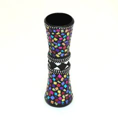 Mosaic Bud Vase - Colorful / Blingy / Glitter Glass / Artisan