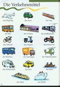 közlekedési eszközök németül