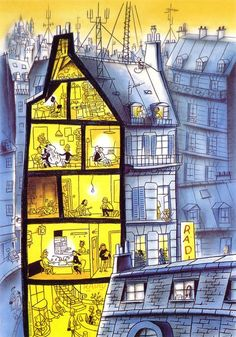 illustration : Dupuis et Berbérian, immeuble, France - Stay at Home Building Illustration, Children's Book Illustration, Doodle Drawing, Architecture People, House Architecture, Atelier D Art, Urban Sketching, Illustrations And Posters, Photomontage