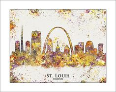 St Louis Skyline St Louis Missouri City Skyline by WaterColorMaps, $18.50
