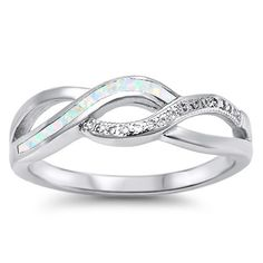 Sterling Silver Created Opal Inlay & CZ Infinity Swirl Ring