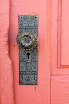 painted door, ornate doorknob