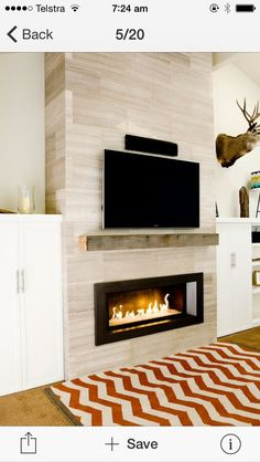 Jan 2017 - Modern Gas Fireplace Design Ideas, Pictures, Remodel, and Decor - page 3 Tv Above Fireplace, Linear Fireplace, Fireplace Built Ins, Home Fireplace, Fireplace Remodel, Living Room With Fireplace, Fireplace Surrounds, Fireplace Design, Fireplace Ideas