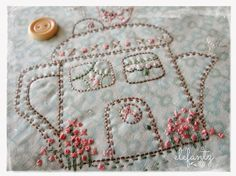 """Little House Tea Pot"" stitchery by Jenny of Elefantz Designs."