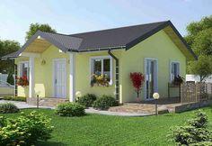 Aceste proiecte de case fara etaj cu 2 dormitoare sunt ideale pentru o familie tanara cu un copil, cu costuri de constructie si intretinere reduse.