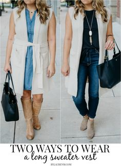 Two Ways to Wear a Long Sweater Vest Sweater Vest Outfit, Long Sweater Vest, Vest Outfits, Long Sweaters, Casual Outfits, Clothing Blogs, Spring Summer Fashion, Fall Fashion, Popular Outfits