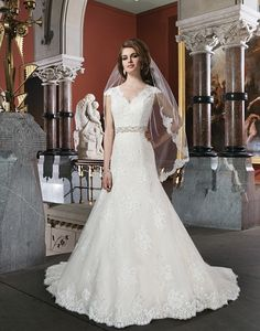 Get Inspired: This Justin Alexander gown features a V-back neckline and regal satin buttons that covers the back zipper to the end of the chapel length train. Classy and fabulous!