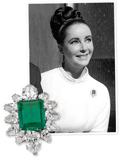 Elizabeth Taylor's iconic Bulgari jewelry is now on display at the Cannes film festival. This emerald and diamond brooch is believed to be one of the first pieces Richard Burton bought for Taylor from the Italian jeweler. Often referred to as the engagement brooch, the actress wore it constantly during the early years of their relationship, including on her wedding day.