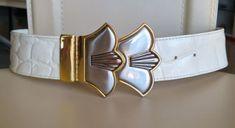 Ceinture vintage cuir blanc façon croco superbe boucle laiton argenté doré  belt e07b6a5b048