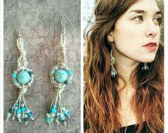 Serpentine imitation tourquoise stones on Black hemp hemp jewellery hemp necklace macrame jewellery
