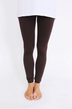 Fleece Lined Leggings- Brown - Dottie Couture Boutique