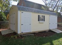 PWIu0027s Gambrel Style Shed With Two Sets Of Double Doors For Convenience And  One Single Door. Click The Image To Begin Building Your Shed Today At PWI.