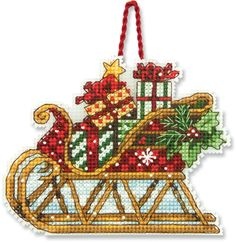 Dimensions Sleigh (Christmas Ornament) - Cross Stitch Kit - 123Stitch.com