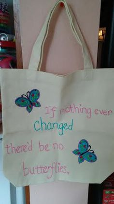 Butterfly quote canvas totebag by RoseCityCrafter on Etsy