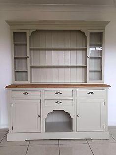 Farmhouse Welsh Dresser Pine Glazed Cupboard Storage Shabby Chic Kitchen