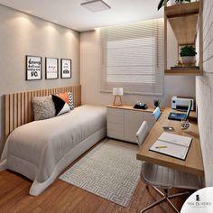 Wonderful room + home office ❤️! 📐Projet Authorship – Wonderful room + home office ❤️! Small Room Bedroom, Home Bedroom, Modern Bedroom, Bedroom Decor, Trendy Bedroom, Bedrooms, Home Office Design, Home Office Decor, Home Decor