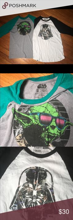 Unisex Vans and regular brand Baseball tees The Darth Vador baseball tee is a custom vans shirt. The Yoda is just a regular brand Baseball Tee. Vans  Shirts Tees - Long Sleeve