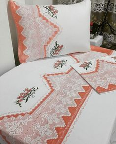 This Pin was discovered by Emr Linen Bedding, Bedding Sets, Bridal Hijab, Lit Simple, Bargello, Ribbon Embroidery, Baby Knitting Patterns, Bed Sheets, Machine Embroidery Designs