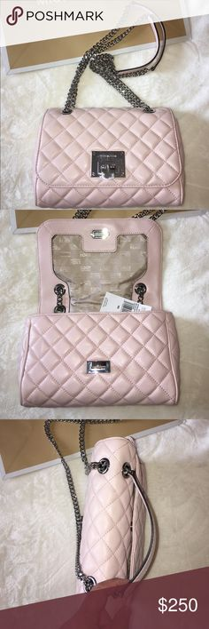 """NWT MICHAEL KORS Vivianne Purse NWT Beautiful blush """"blossom""""  pink purse in buttery soft quilted leather. MK uses silver metal for this purse which is a rare departure from the standard gold.  Handles slide to convert to a cross body. Zippered interior pocket and one open interior pocket.  Back of purse has a snap pocket. Perfect color for spring and summer!  No Trades on this item. KORS Michael Kors Bags Shoulder Bags"""