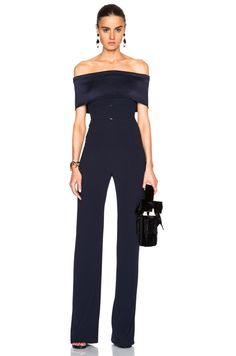 Shop for GALVAN Off The Shoulder Jumpsuit in Midnight at FWRD. Formal Jumpsuit, Wedding Jumpsuit, Casual Jumpsuit, Black Jumpsuit, Dresses To Wear To A Wedding, Wedding Outfits, Jumpsuit Pattern, Jumpsuit Outfit, Diy Dress