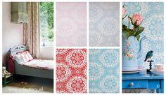 Bloemetjes-behang in roze, blauw, rood en turquoise van Room Seven