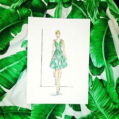 #Buongiorno! Spuntano #illustrazioni fra le banana leaf di impalpabili abiti di seta! #dgbananaleaf #dolcegabbana #fashion #dress #style #picoftheday #green #fashionillustration #illustrator #fashionsketch #sketch #fashiondraw #draw #watercolor #antoniaboutique bananaleaf #Riccione #glam #giovannasitran www.theglampepper.com