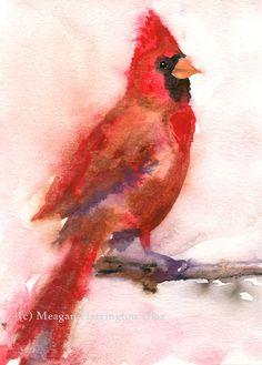 Cardinal Painting  Bird Art  Cardinal by DustyShamrockStudio, $18.00