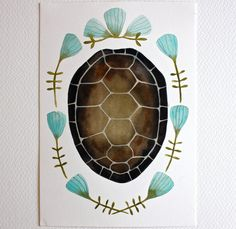 @Rene Risner-Tourville Isn't this amazing?!  Tortoise Shell Watercolor Painting  Nature Art  by RiverLuna, $20.00